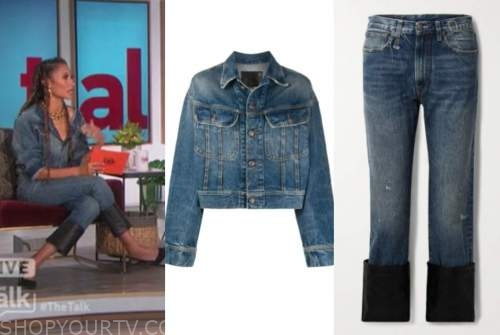elaine welteroth, the talk, denim jacket and leather cuff jeans