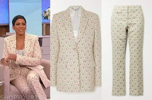 tamron hall, tamron hall show, ivory jacquard floral blazer and pant suit