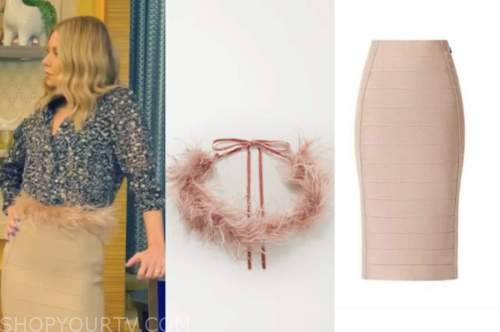 kelly ripa, live with kelly and ryan, feather belt, bandage skirt