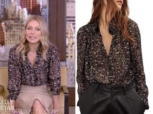kelly ripa, live with kelly and ryan, black printed blouse