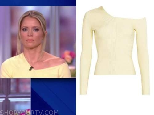 sara haines, the view, asymmetric yellow sweater