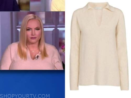 meghan mccain, the view, beige v-neck sweater