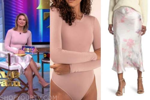 amy robach, good morning america, pink bodysuit top, pink abstract skirt