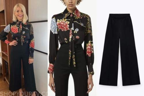holly willoughby, this morning, black floral blouse, black pants