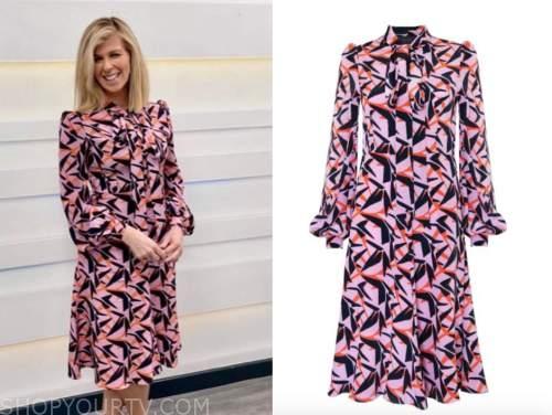 kate garrway, pink abstract print tie neck dress, good morning britain