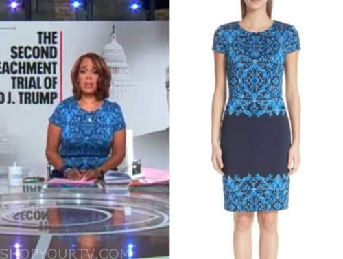gayle king, cbs this morning, blue brocade dress