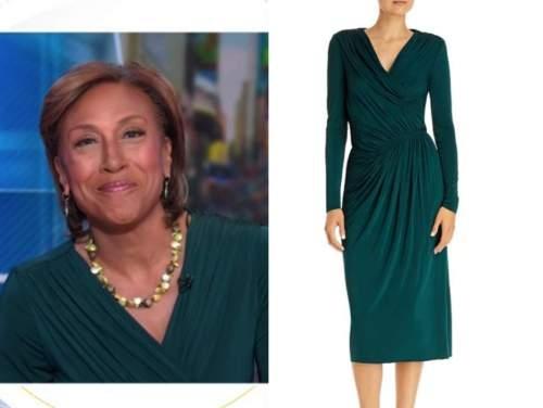robin roberts, green ruched wrap midi dress, good morning america