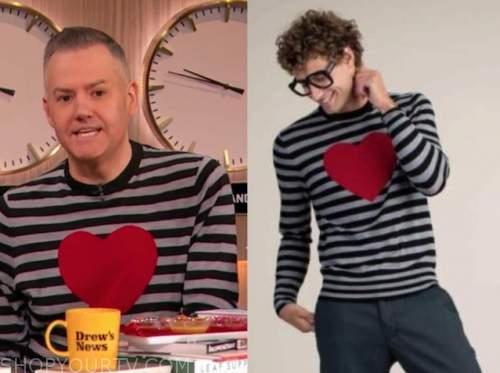 ross mathews, the drew barrymore show, striped heart sweater