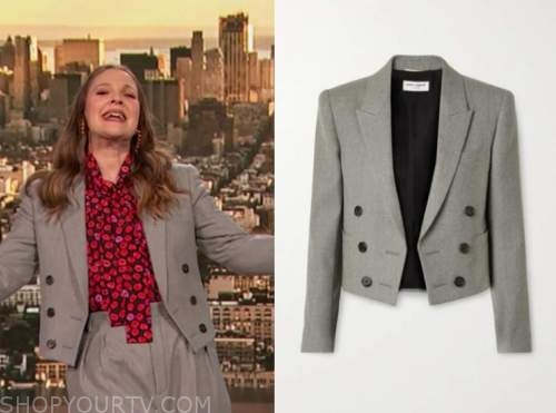 drew barrymore, drew barrymore show, grey cropped double breasted blazer