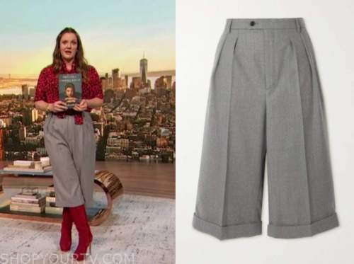 drew barrymore, drew barrymore show, grey cropped pants