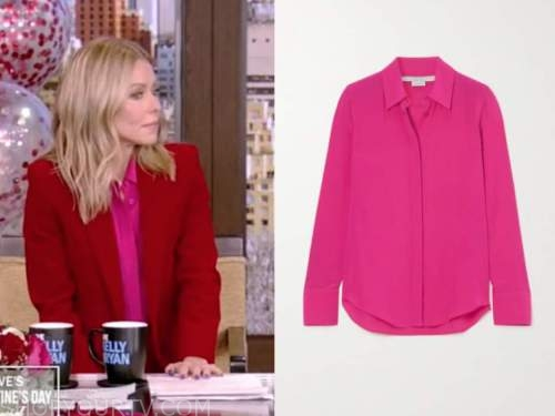 kelly ripa, live with kelly and ryan, hot pink silk blouse