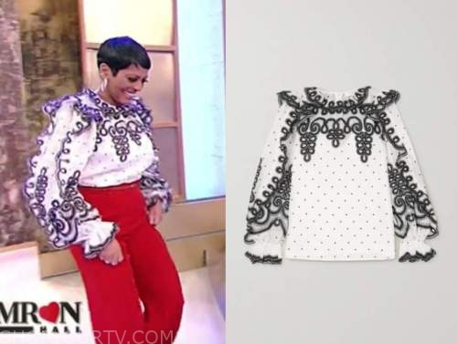 tamron hall, tamron hall show, black and white embroidered blouse