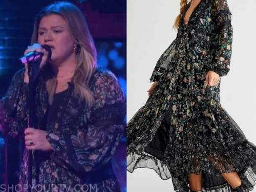 kelly clarkson, the kelly clarkson show, black floral midi dress