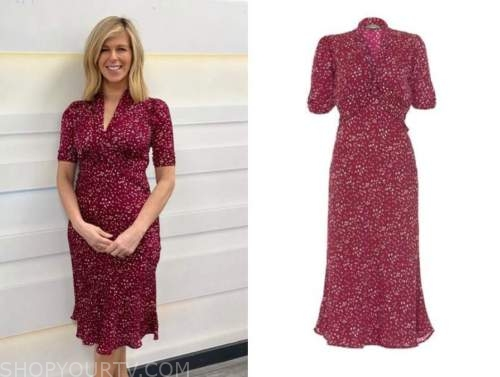 good morning britain, red heart print midi dress, kate garraway