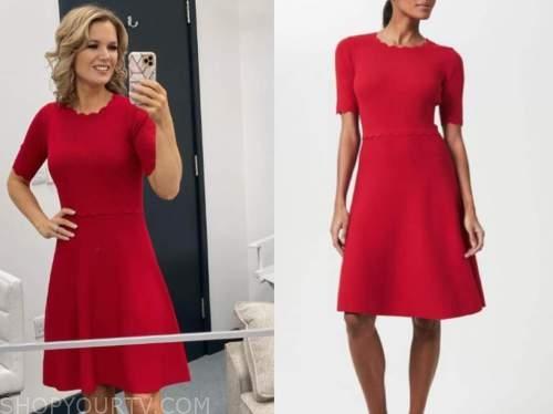 charlotte hawkins, good morning britain, red scallop dress