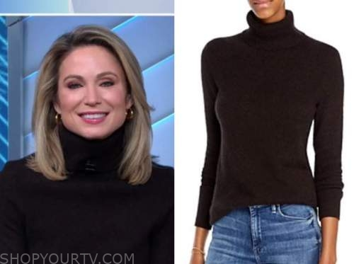 amy robach, good morning america, brown cashmere turtleneck sweater