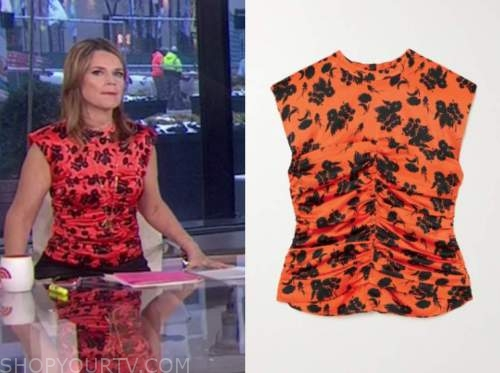 savannah guthrie, the today show, orange and black satin floral ruched top