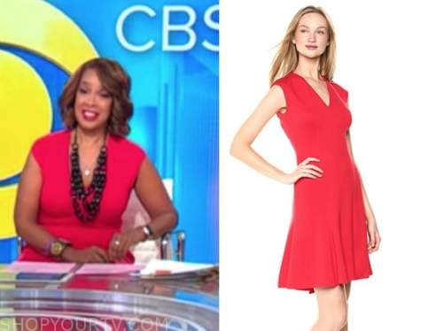 gayle king, cbs this morning, red v-neck dress