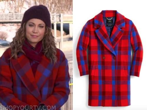 ginger zee, red and blue check plaid coat, good morning america