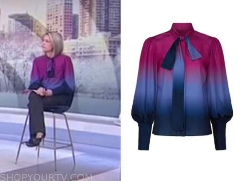 dylan dreyer, ombre tie neck blouse, the today show