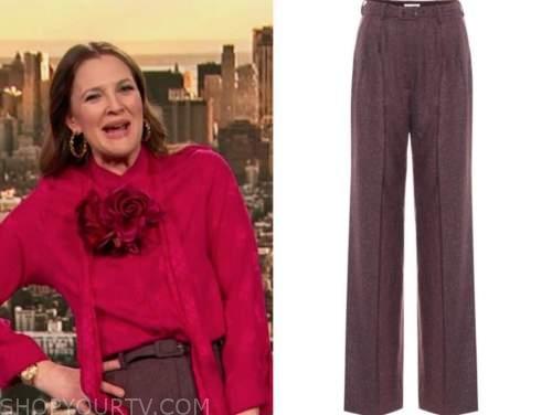 drew barrymore, drew barrymore show, burgundy purple belted pants