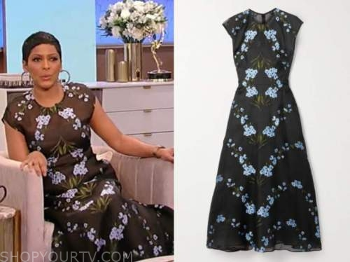 tamron hall, tamron hall show, black and blue floral embroidered midi dress
