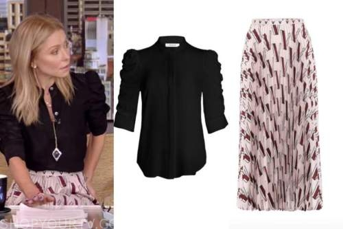 kelly ripa, live with kelly and ryan, black top, pink pleated midi skirt
