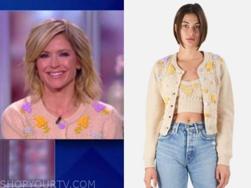 sara haines, the view, beige floral cardigan sweater