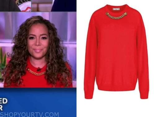 sunny hostin, the view, red chain sweater