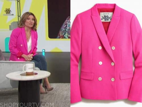 kit hoover, access daily, hot pink double breasted blazer