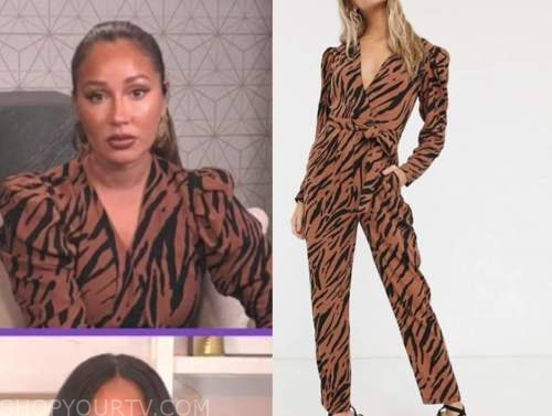 adrienne bailon, the real, tiger jumpsuit