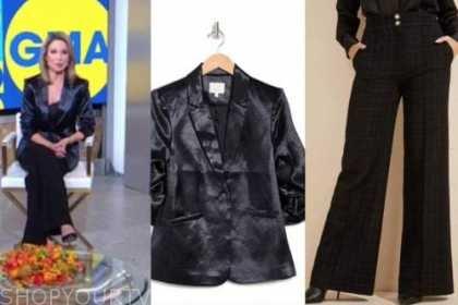 amy robach, good morning america, gma3, navy satin blazer, black tweed pants