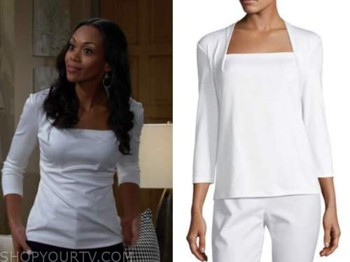 amanda sinclair, mishael morgan, the young and the restless, white square neck top