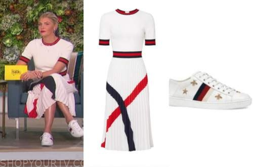 amanda kloots, the talk, white pleated dress, white sneakers