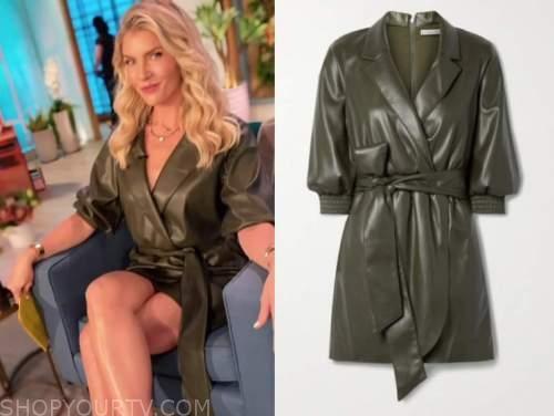 amanda kloots, the talk, olive green leather wrap dress