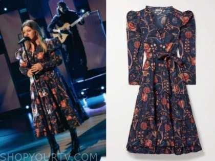 kelly clarkson, the kelly clarkson show, navy blue floral midi dress