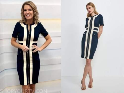 charlotte hawkins, good morning britain, colorblock zip-front dress