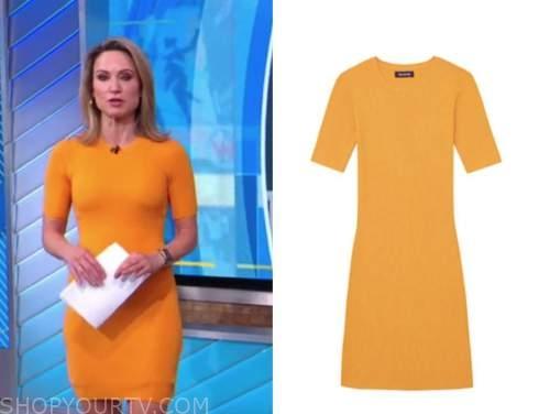 amy robach, good morning america, orange ribbed knit dress