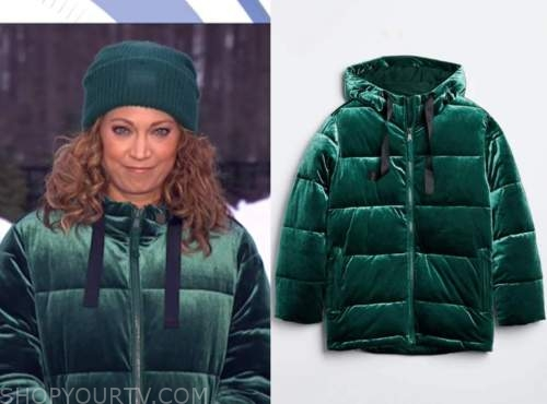 good morning america, ginger zee, green velvet puffer jacket