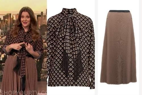 drew barrymore, drew barrymore show, fringe tie neck blouse, pleated midi skirt