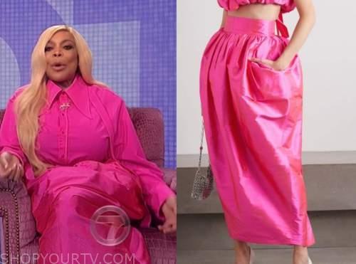 wendy williams, the wendy williams show, pink silk midi skirt