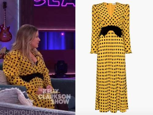 kelly clarkson, the kelly clarkson show, yellow and black polka dot bow dress