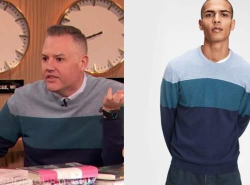 ross mathews, drew barrymore show, blue striped colorblock sweater