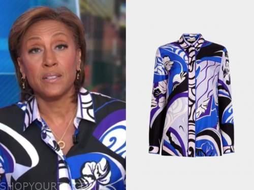 robin roberts, good morning america, blue and purple silk blouse