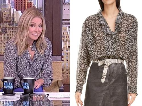 kelly ripa, floral blouse, live with kelly and ryan
