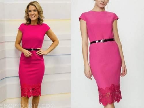 charlotte hawkins, good morning britain, pink lace sheath dress