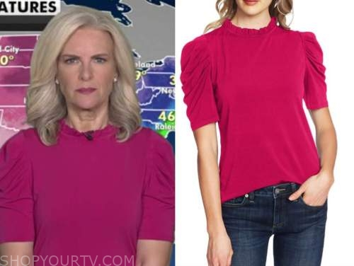 janice dean, pink puff sleeve top, fox and friends