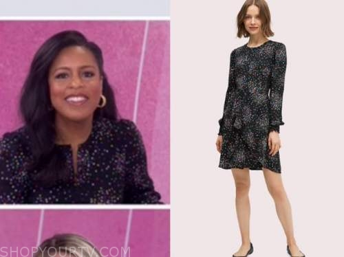 sheinelle jones, black multicolor dot dress, the today show