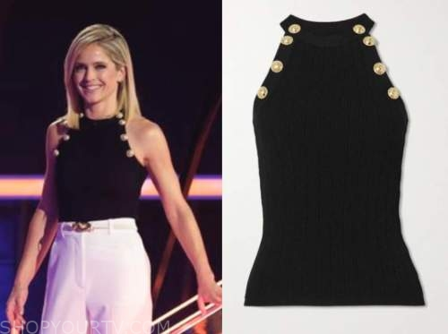 the chase, sara haines, black ribbed knit button top