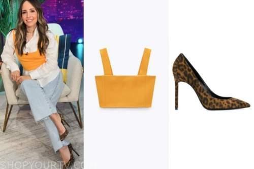 lilliana vazquez, orange crop top, leopard pumps, E! news, daily pop